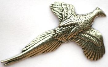 Pheasant in Flight | Pewter Pin Badge | Tackle and Guns Glasgow